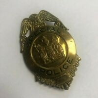 "Vintage Special Police Badge Gold Tone Tin Metal 2.25"" New Jersey Emblem"