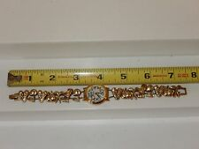 Golf Theme Womens Watch Band with Slide Charms Heavy Gold Tone