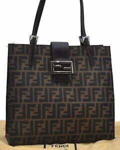 Auth FENDI Zucca Mamma Baguette Shoulder Tote Bag Canvas Leather Brown E2010