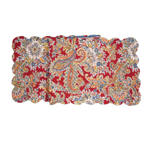 """RHAPSODY PAISLEY Quilted Table Runner 51""""L by C&F Home  Red, Blue, Gold, Pumpkin"""
