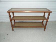 Faux Bamboo Sofa Console Table Hollywood Regency Hallway Palm Beach Cane Wicker