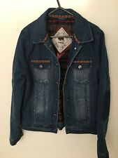 Bellfield Womens Collared Denim Jacket with Aztec Print Size 10