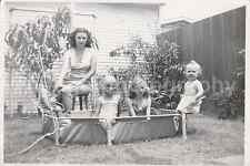 PRETTY MOM AND POOL KIDS Vintage FOUND PHOTO bw FREE SHIPPING Girls Baby 61119-1