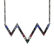 NEW NWT $95 NORDSTROM RAINBOW CRYSTAL STERLING SILVER ZIG-ZAG NECKLACE HOLIDAY