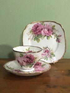 Vintage ROYAL ALBERT ENGLAND American Beauty Trio CUP & SAUCER & PLATE