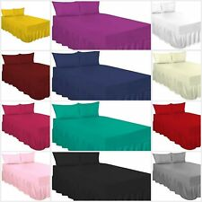 PERCALE EXTRA DEEP 100% COTTON BLEND POLY FITTED VALANCE BED SHEETS IN ALL SIZES