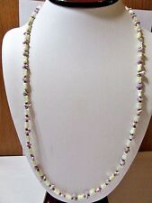 MOTHER OF PEARL CARVED TULIP FLOWER SHAPE BEADED NECKLACE PURPLE SPACER GEMSTONE
