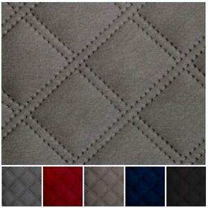 Double Stitch Embossed Diamond Quilted Velvet Velour  Vehicle Upholstery Fabric