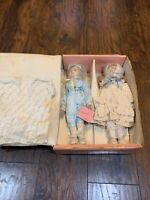 Marian Yu Design Lot of 2 Porcelain Dolls w/ Box & Stands Vintage Antique