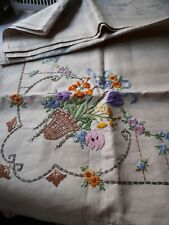 More details for vintage hand embroidered irish linen tablecloth