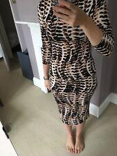 Topshop Leopard Tribal Animal Print Midi Bodycon Celebrity Dress Vintage UK10/12