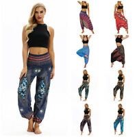 Women Casual Loose Yoga Trousers Baggy Aladdin Jumpsuit Harem Elastic Waist Pant