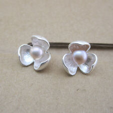 9925 Sterling Silver Flower Open Bud Studs Earrings Freshwater Pearl