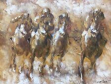 Painting On Canvas Of Racehorces Palette Knife Style