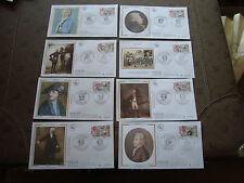 FRANCE - 8 enveloppes 1er jour 25/2/1989 (personnages celebres) (cy25) french