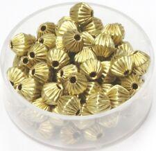 6 MM Solid Brass Bi-Cone Corrugated Hollow Beads  Pkg. 50 p.  , USA
