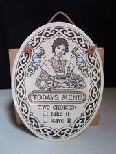 Trinity Pottery USA Wall Plaque Today's Menu Two Choices Take Leave It Folk Art