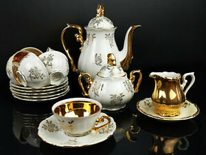 Haus Franken Bavaria Mokkaservice 6 Personen Espresso Goldrand Vergoldet Kaffee