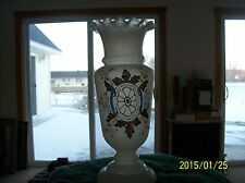Bristol Glass Antique Ruffled Edge Tall Vase Blown & Hand Painted Enamel Floral