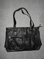 Leder Handtasche Schultertasche Damen in Schwarz