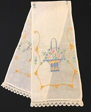 VINTAGE HAND EMBROIDERY FLOWER BASKETS TABLE RUNNER WITH WHITE CROCHET TRIM