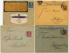 Autriche début entiers postaux 4 imprimé enveloppes 1902-16