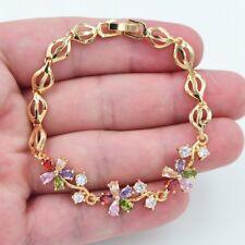 18K Yellow Gold Filled Women Multi-Color Mystical Topaz Gems Flower Bracelet
