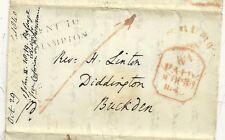 * 1840 lettre partie H / S missent à Northampton & n code = à Londres par rail