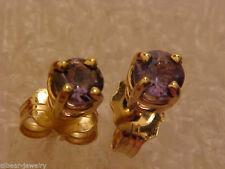 14K GOLD .41CT GEN RUSSIAN ALEXANDRITE EARRINGS w/ STRONG POSTS AA+COLOR CHANGE