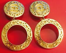 Vintage Christian Dior Large Logo CD Earrings Hoop Style Fantastic Condition!