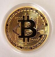 Gold Bitcoin Commemorative Round Collectors Coin Bit Coin is Gold Plated Coins D