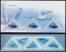 Guinea 2011 MNH 2 SS Set, Whales, Fish Marine, Odd unusual Triangle shape
