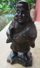 ANTIQUE CHINESE CARVED HEAVY BLACK HARDWOOD FISHERMAN FIGURE 8""