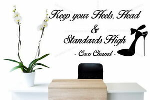Coco Chanel Quote Keep your Heels Up Large Vinyl Wall Sticker Decal Bedroom