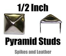 "500 silver/chrome pyramid/square studs 1/2"" spike 12 mm spot heavy duty USA Tack"