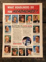 RARE Vintage 1940 Bromo-Seltzer Color Ad 11.5x15 Joe McCarthy Sam Snead Dorsey
