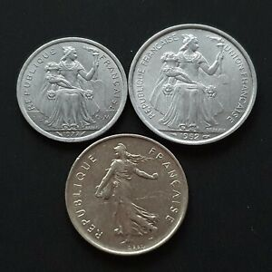 1952 - 1977 Lot 3x France / New Caledonia Coins UAD063