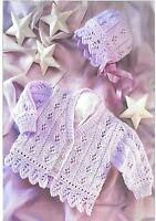 S3009 Vintage Baby Girls Knitting Pattern Lacy Cardigan and Bonnet 0 - 6 years
