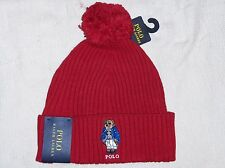POLO RALPH LAUREN Cuffed Ski Bear Pom-Pom Beanie, Skull Ski Cap Hat, RED, nwt