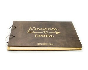Personalized Wooden Wedding Guest Book, Rustic, Arrow, Newlyweds