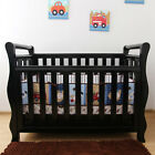 Walnut New Zealand Pine 3-in-1 Classic Baby Sleigh Cot Bed with Drawers