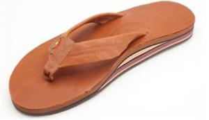 Rainbow Sandalen 302ALTS Hellbraun Leder Doppellagig Zehentrenner Herren Größen