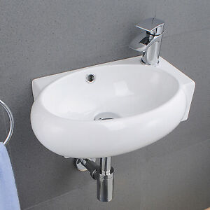 Basin Sink Hand Wash Countertop Cloakroom Ceramic Bowl Bathroom Oval Curved Tool