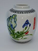 Oriental Vase With Hand Painted Irises.