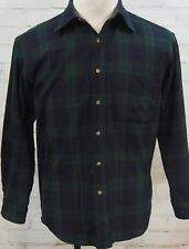 Vintage Pendleton Black Wacht Tartan Green Plaid 100% Wool Mens Flannel Shirt M
