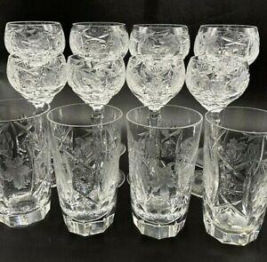 12 - Elegant Fancy Hand Cut Crystal Glass Stem Wine Hock Sherry Tumbler Highball
