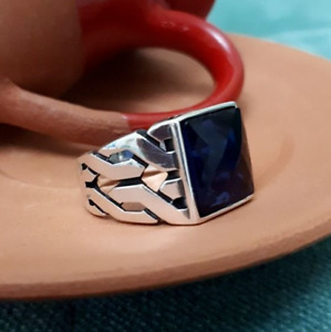 Sterling 925 Silver Handmade Jewelry Asian Blue Sapphire Men's Ring