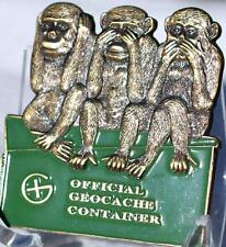 3 WISE MONKEYS VINTAGE 2008 RE EDITION GEOCOIN - AG - A/T - TOC #181