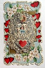 1920s Valentine's Day Card w/ Silver and White Paper Lace w/ Flower Person Scrap