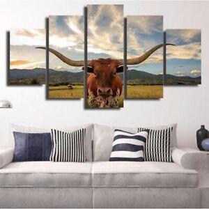 Texas Longhorn Farm Animals Canvas Prints Painting Wall Art Home Decor 5PCS